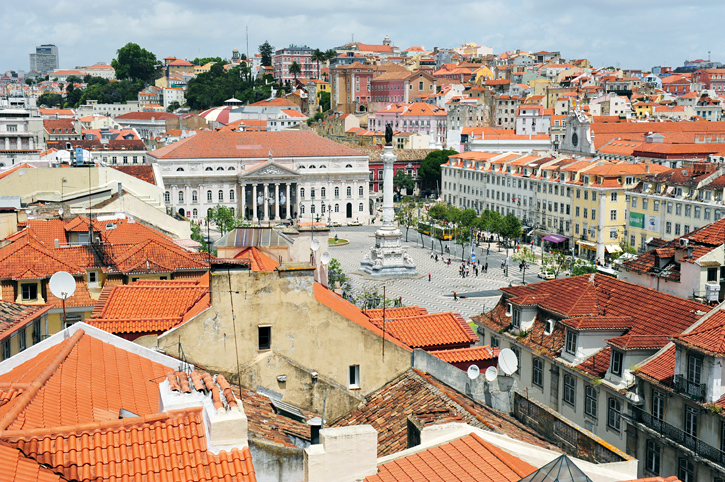 Centrum Lizbony, widok z windy Santa Justa