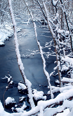 Winterlandschap, winter rivier