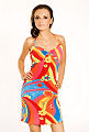 Mulher, vestido colorido