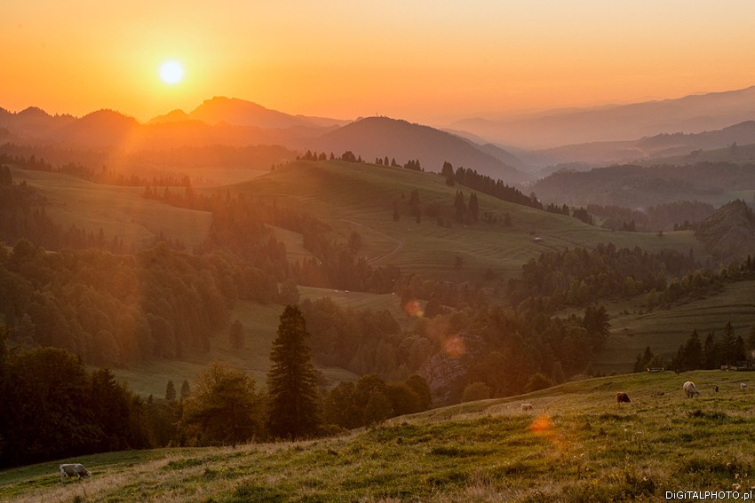 Landscapes Pieniny, mountains and sunset